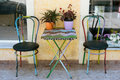 Painted Table and Two Chairs Royalty Free Stock Photo