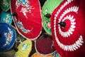 Painted thai parasols traditional handmade in chiang mai northern thailand Royalty Free Stock Photography