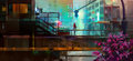Painted urban future city with a man