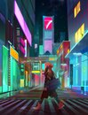Painted urban neon landscape of the future with man at night Royalty Free Stock Photo