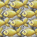Painted watercolor seamless background, fish black and white with yellow fish, large pattern