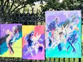Watercolor of Jazz painting on Sidewalk Fence