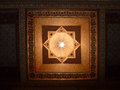 A painted wooden ceiling of the Bahia Palace in Marrakesh Royalty Free Stock Photo