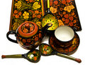 Painted wooden dishes, Hohloma style, Russia Royalty Free Stock Photos