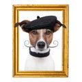 Painter artist frame dog Royalty Free Stock Photo