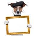 Painter artist frame holding dog Royalty Free Stock Photo