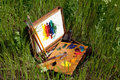 Painter case on grass with palette and artistic tools Royalty Free Stock Photo
