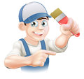 Painter decorator pointing illustration of a cartoon in a cap Royalty Free Stock Photo