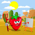 Painter devil strawberry in the desert cartoon vector format is available Royalty Free Stock Photography