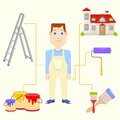 Painter with equipment vector illustration of Royalty Free Stock Photos