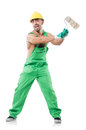 Painter in green coveralls on white Stock Photos