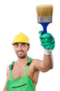 Painter in green coveralls on white Royalty Free Stock Photo