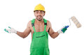 Painter in green coveralls on white Stock Photo