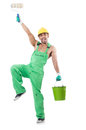 Painter in green coveralls on white Royalty Free Stock Images