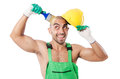 Painter in green coveralls on white Royalty Free Stock Photography