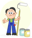 Painter holding roller gives thumbs up cartoon long Stock Photo