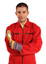 Painter in red overall Royalty Free Stock Photo