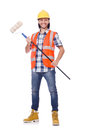 Painter with roller isolated on the white Stock Photography