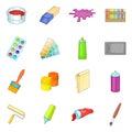 Painter tools icons set, cartoon style Royalty Free Stock Photo