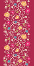 Painterly blossoming tree vertical seamless vector painted branches pattern background with hand drawn elements Stock Images