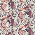 Painterly botanical background texture. Pastel toned seamless pattern. Royalty Free Stock Photo