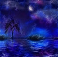 Painterly night scape blue hued landscape with tree and moon Royalty Free Stock Photo