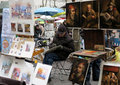 Painters displaying their paintings drawings place du tertre paris france Stock Images