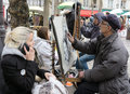 Painters painting their paintings drawings place du tertre paris france Royalty Free Stock Image