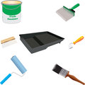 Painters tools brushes paint roller roller tray wallpaper brush seam roller paste brush and paint can Stock Photo