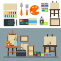 Painting art tools palette icon set flat vector illustration details stationery creative paint equipment.