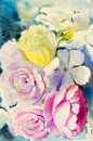 Painting art watercolor landscape original colorful of the roses.
