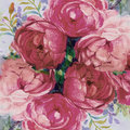 Painting art watercolor landscape pink color of the roses.