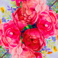 Painting art watercolor landscape pink,yellow color of the roses.