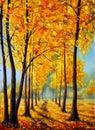 Painting autumn park. Autumn trees. Autumn harmony.