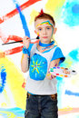 Painting boy Stock Images