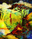 Painting butterfly and tree, wallpaper landscape Royalty Free Stock Photo