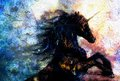 Painting on canvas of a black unicorn dancing in space crackle desert effect Royalty Free Stock Photo