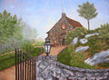 Painting of chapel with landscape and fence. Royalty Free Stock Images