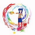 Painting cheerful painter draws colored circles Royalty Free Stock Photos
