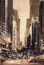 Painting of city street with office buildings