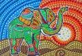 Painting, Colorful Elephant Sa...