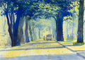 Painting colorful of Tunnel of Trees in countryside and emotion