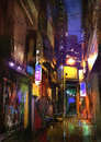 Painting of dark alley at night
