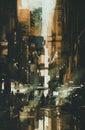 Painting of Dark narrow alley Royalty Free Stock Photo