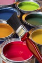Painting and decorating interior design colorful water based paints used in Royalty Free Stock Photography