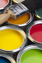 Painting and decorating tins of paint paintbrush Stock Photos