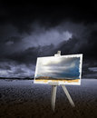 Painting on desert Royalty Free Stock Images