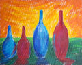 Painting of different sized bottles four with reflection and bright sky Royalty Free Stock Photos