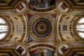 The painting on the dome and walls of Saint Isaac`s Cathedral in
