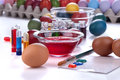 Painting eggs for easter traditional and coloring to celebrate Stock Photography